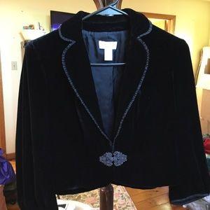 Ann Taylor Loft Black Velvet Jacket 2 Buckle